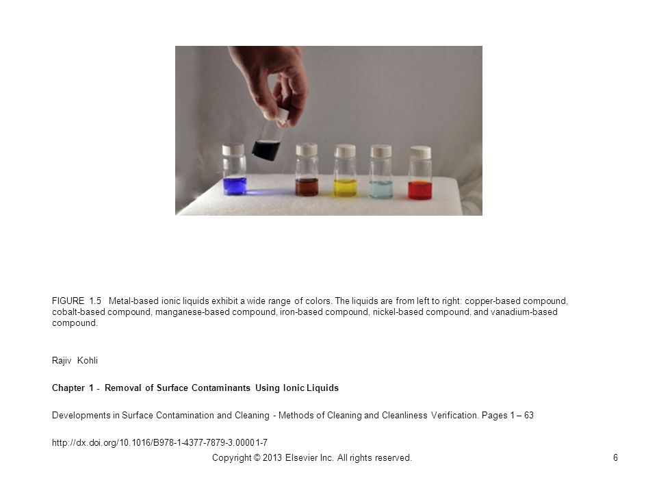 FIGURE 1.5 Metal-based ionic liquids exhibit a wide range of colors. The liquids are from left to right: copper-based compound, cobalt-based compound,