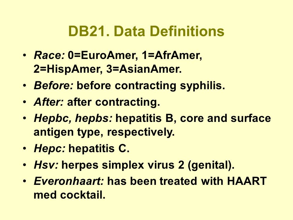 DB21. Data Definitions Race: 0=EuroAmer, 1=AfrAmer, 2=HispAmer, 3=AsianAmer.