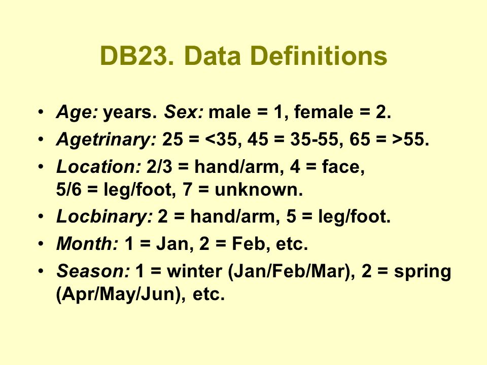 DB23. Data Definitions Age: years. Sex: male = 1, female = 2.