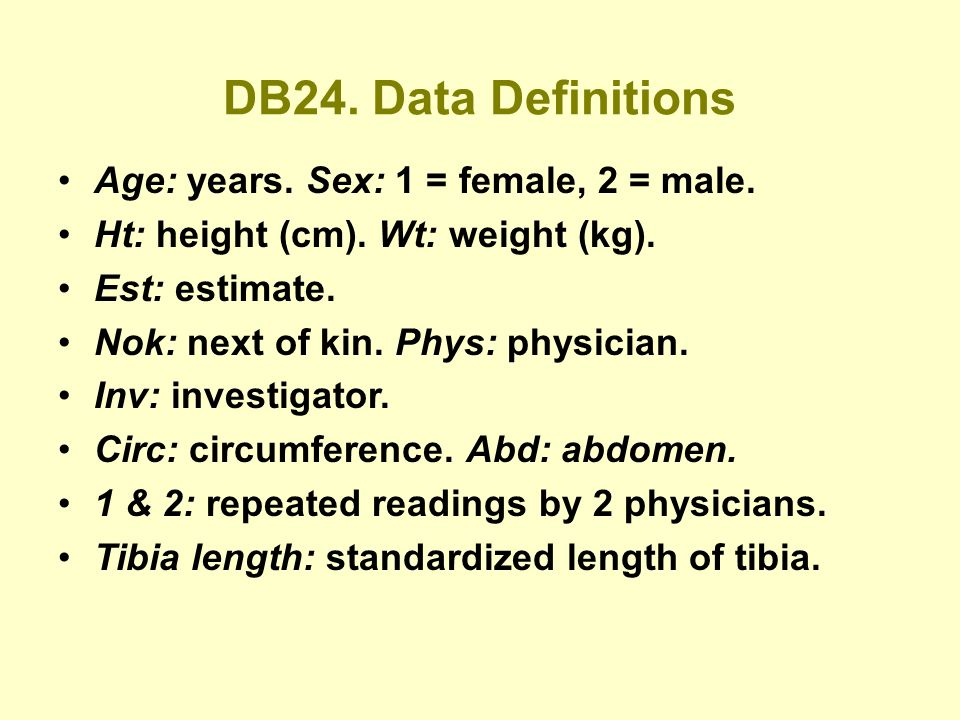 DB24. Data Definitions Age: years. Sex: 1 = female, 2 = male.