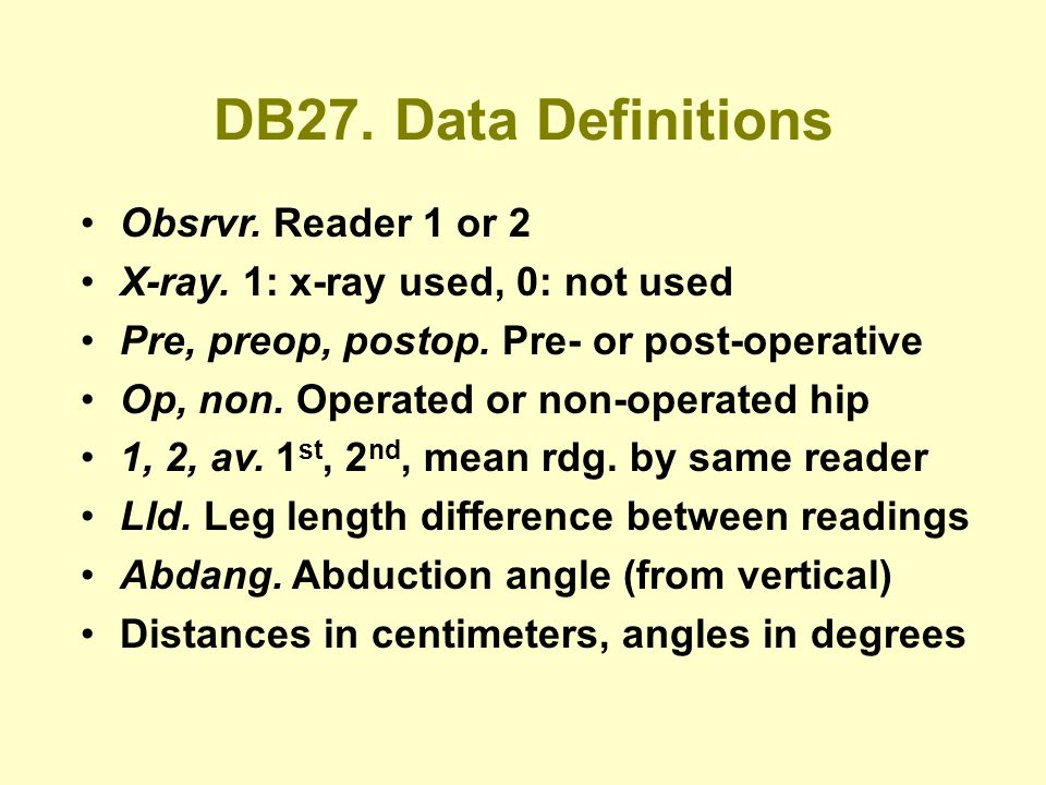 DB27. Data Definitions Obsrvr. Reader 1 or 2 X-ray.
