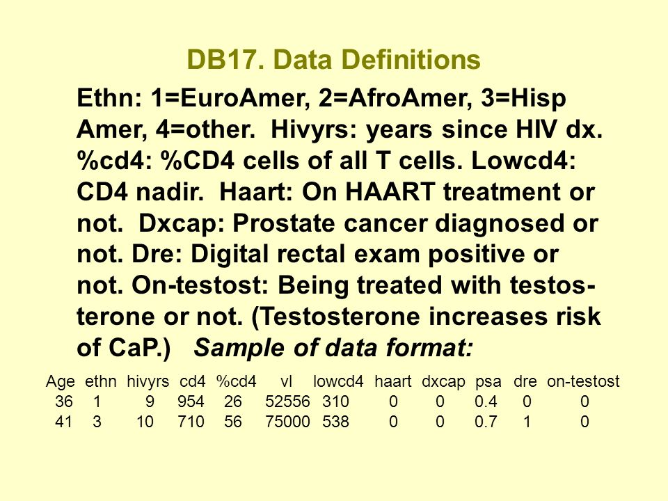 DB17. Data Definitions Ethn: 1=EuroAmer, 2=AfroAmer, 3=Hisp Amer, 4=other.