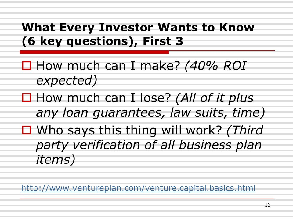 What Every Investor Wants to Know (6 key questions), First 3 How much can I make? (40% ROI expected) How much can I lose? (All of it plus any loan gua