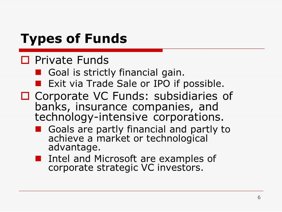 6 Types of Funds Private Funds Goal is strictly financial gain. Exit via Trade Sale or IPO if possible. Corporate VC Funds: subsidiaries of banks, ins