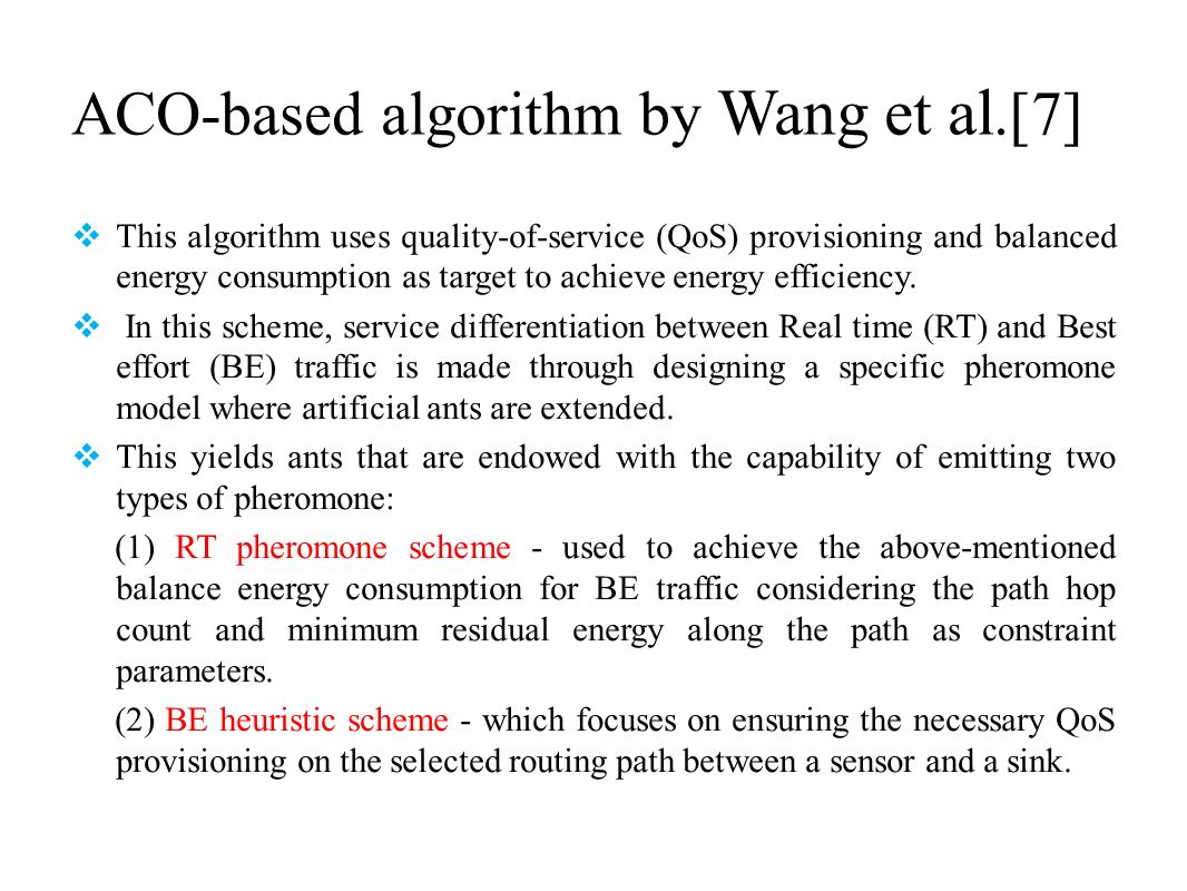 ACO-based algorithm by Wang et al.[7] This algorithm uses quality-of-service (QoS) provisioning and balanced energy consumption as target to achieve e