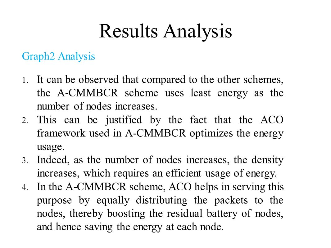 Results Analysis Graph2 Analysis 1. It can be observed that compared to the other schemes, the A-CMMBCR scheme uses least energy as the number of node