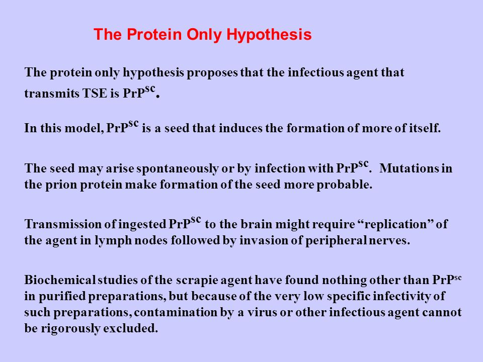 The Protein Only Hypothesis The protein only hypothesis proposes that the infectious agent that transmits TSE is PrP sc.