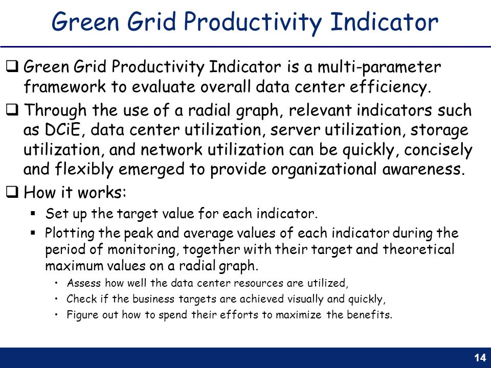 14 Green Grid Productivity Indicator Green Grid Productivity Indicator is a multi-parameter framework to evaluate overall data center efficiency. Thro