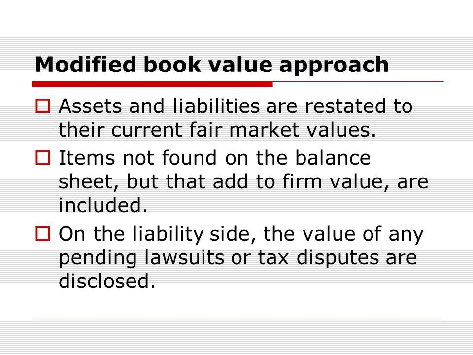 Free cash flow valuation Defines the value of the firm as the present value of the expected future cash flows in excess of those needed to operate the company.