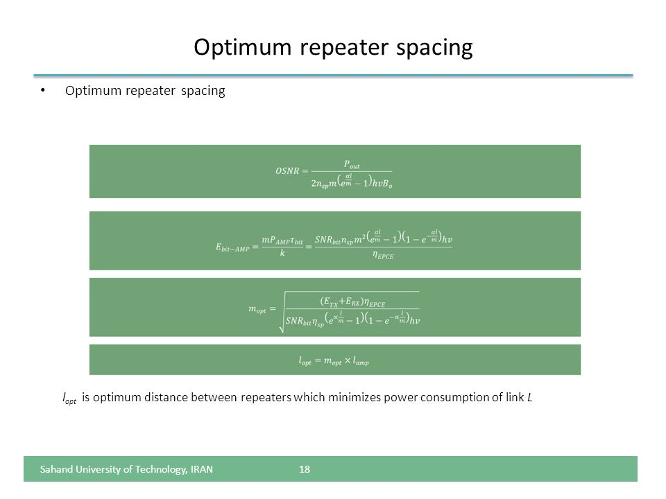 Optimum repeater spacing 18 l opt is optimum distance between repeaters which minimizes power consumption of link L Sahand University of Technology, I