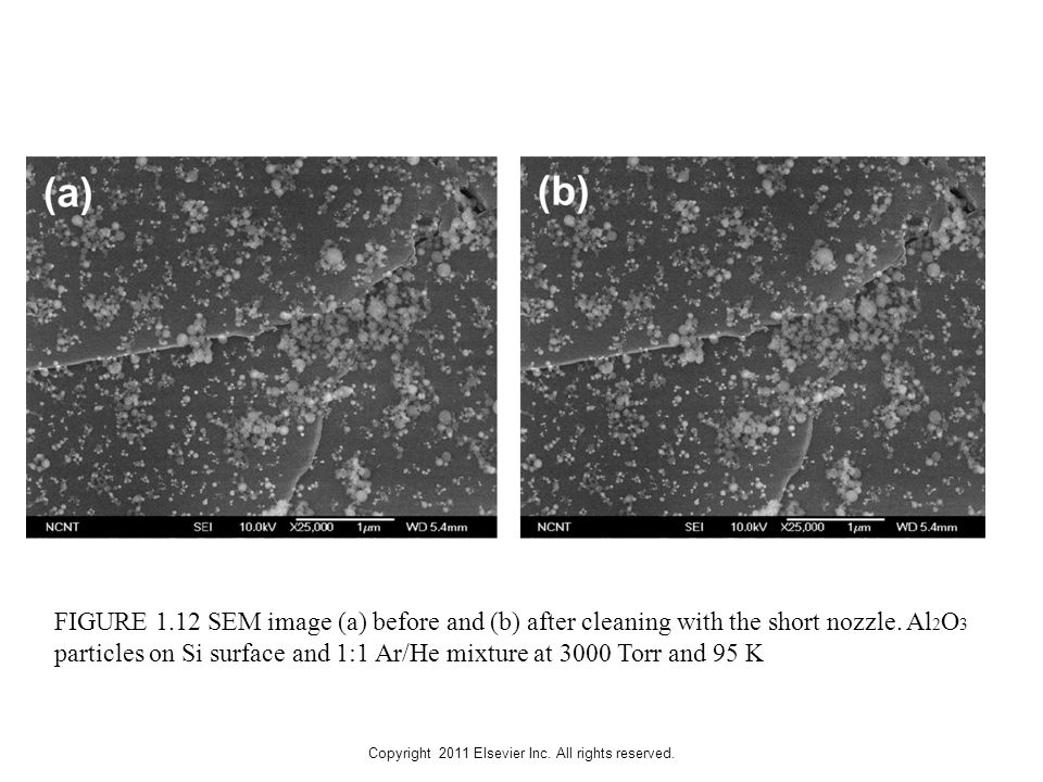 Copyright 2011 Elsevier Inc. All rights reserved. FIGURE 1.12 SEM image (a) before and (b) after cleaning with the short nozzle. Al 2 O 3 particles on