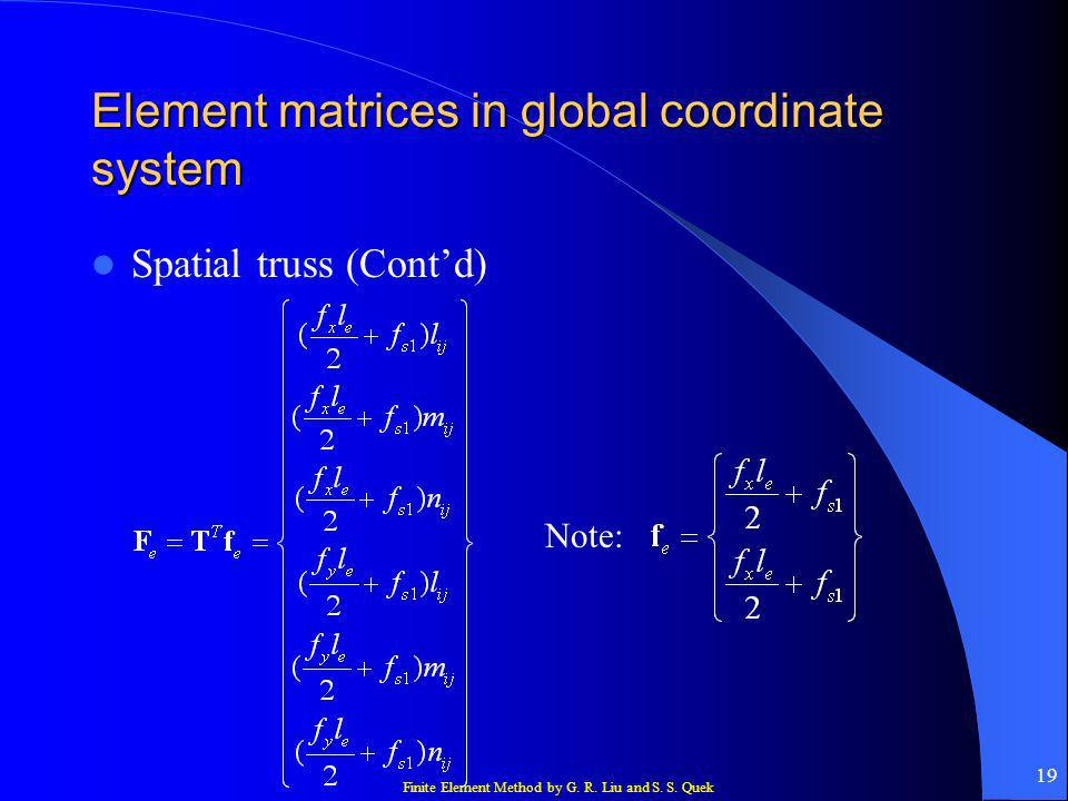 Finite Element Method by G. R. Liu and S. S. Quek 19 Element matrices in global coordinate system Spatial truss (Contd) Note: