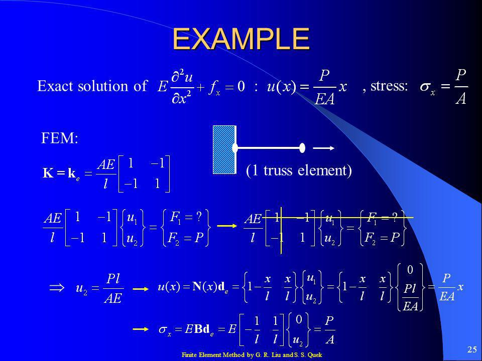 Finite Element Method by G. R. Liu and S. S. Quek 25 EXAMPLE Exact solution of, stress: : FEM: (1 truss element)