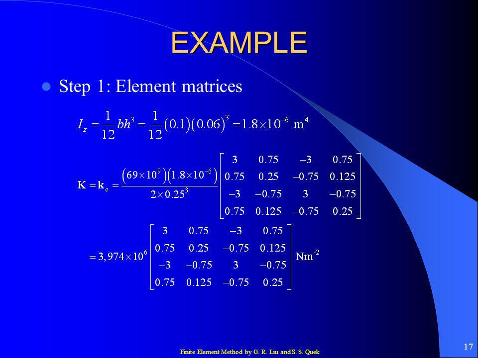 Finite Element Method by G. R. Liu and S. S. Quek 17 EXAMPLE Step 1: Element matrices