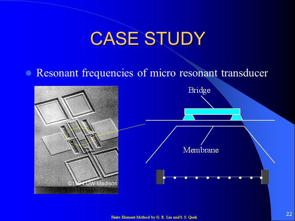 Finite Element Method by G. R. Liu and S. S. Quek 22 CASE STUDY Resonant frequencies of micro resonant transducer