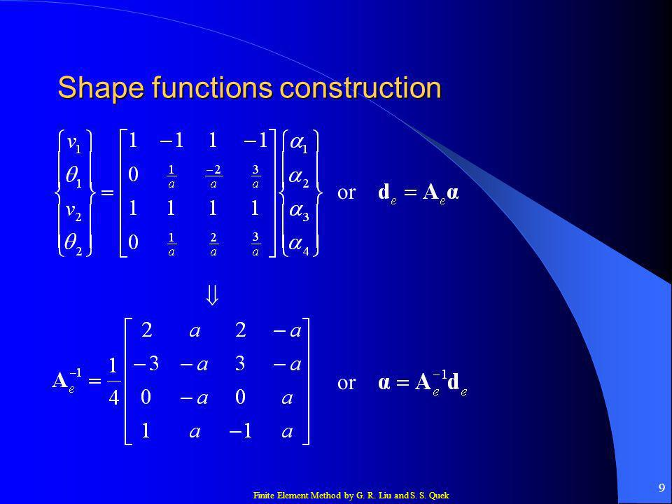 Finite Element Method by G. R. Liu and S. S. Quek 9 Shape functions construction or or