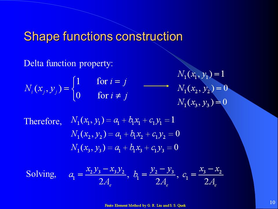 Finite Element Method by G. R. Liu and S. S. Quek 10 Shape functions construction Delta function property: Therefore, Solving,