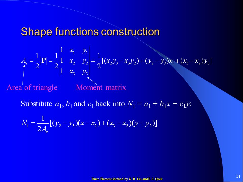 Finite Element Method by G. R. Liu and S. S. Quek 12 Shape functions construction Similarly,