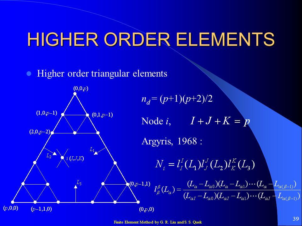 Finite Element Method by G. R. Liu and S. S. Quek 39 HIGHER ORDER ELEMENTS Higher order triangular elements n d = (p+1)(p+2)/2 Node i, Argyris, 1968 :