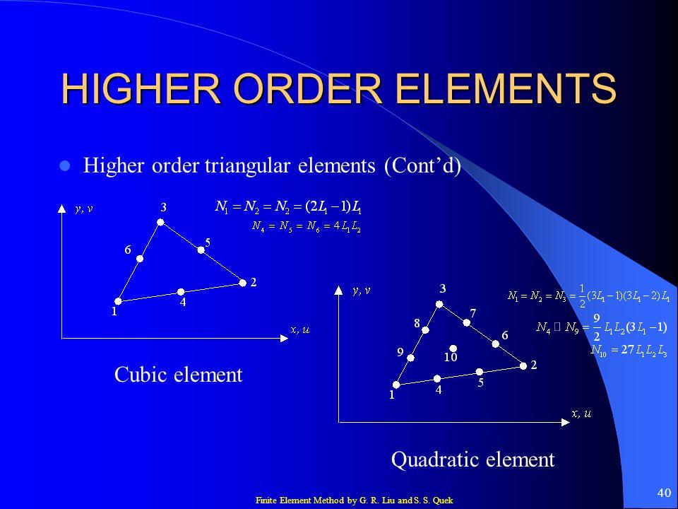 Finite Element Method by G. R. Liu and S. S. Quek 40 HIGHER ORDER ELEMENTS Higher order triangular elements (Contd) Cubic element Quadratic element