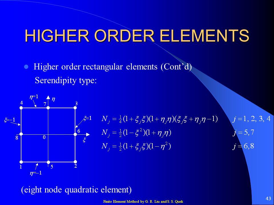 Finite Element Method by G. R. Liu and S. S. Quek 43 HIGHER ORDER ELEMENTS Higher order rectangular elements (Contd) Serendipity type: (eight node qua