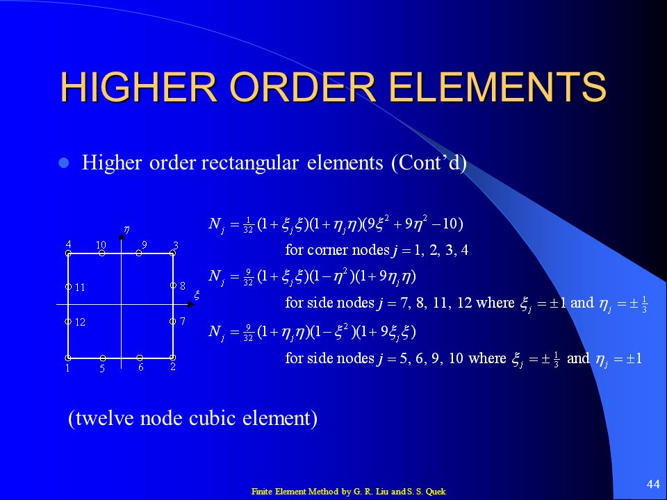 Finite Element Method by G. R. Liu and S. S. Quek 44 HIGHER ORDER ELEMENTS Higher order rectangular elements (Contd) (twelve node cubic element)