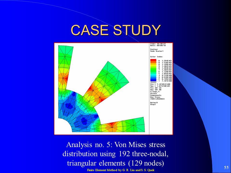 Finite Element Method by G. R. Liu and S. S. Quek 55 CASE STUDY Analysis no. 5: Von Mises stress distribution using 192 three-nodal, triangular elemen