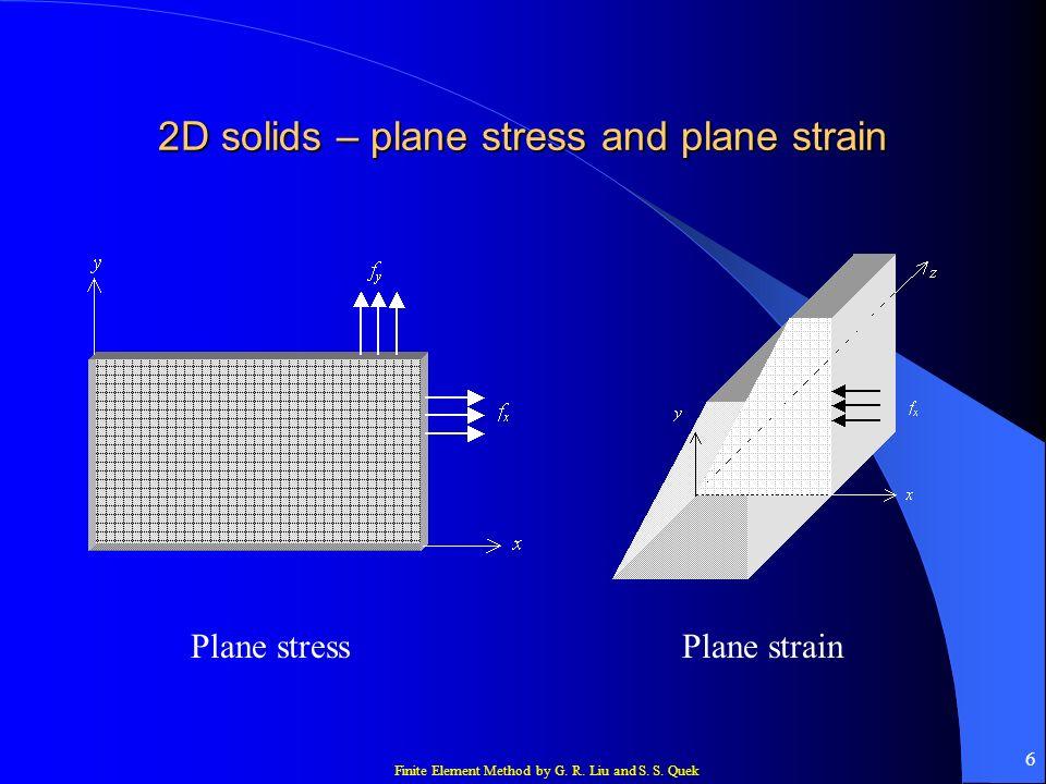 Finite Element Method by G. R. Liu and S. S. Quek 6 2D solids – plane stress and plane strain Plane stressPlane strain