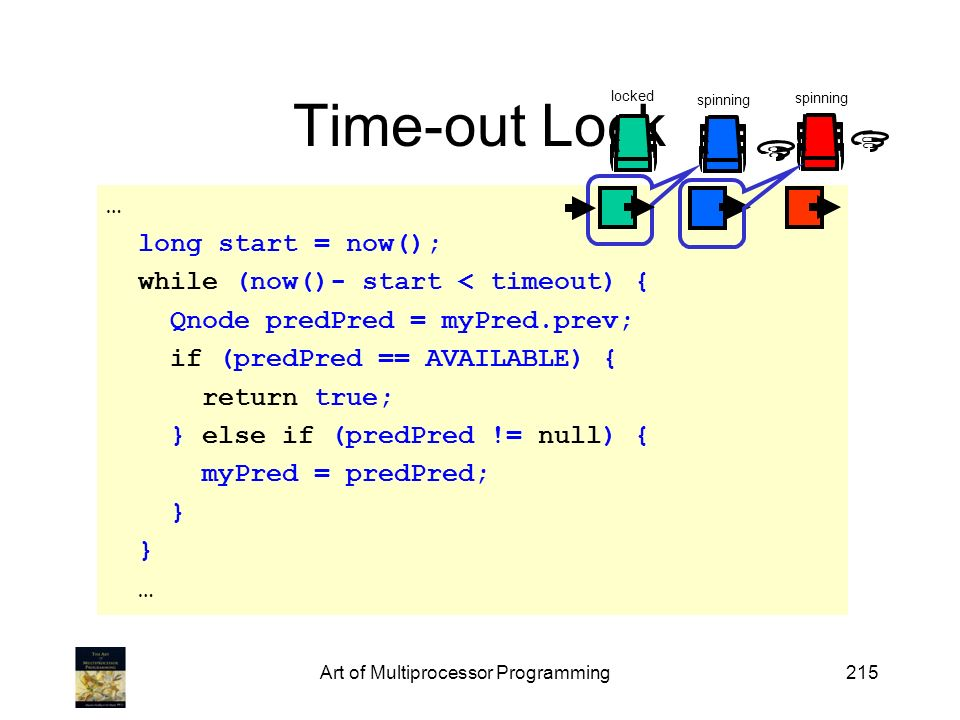 Art of Multiprocessor Programming215 Time-out Lock … long start = now(); while (now()- start < timeout) { Qnode predPred = myPred.prev; if (predPred =
