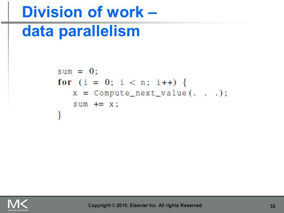 35 Division of work – data parallelism Copyright © 2010, Elsevier Inc. All rights Reserved