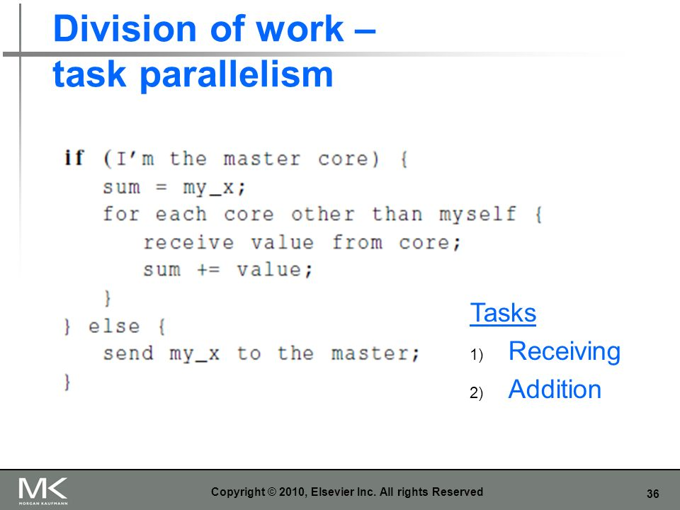 36 Division of work – task parallelism Copyright © 2010, Elsevier Inc.