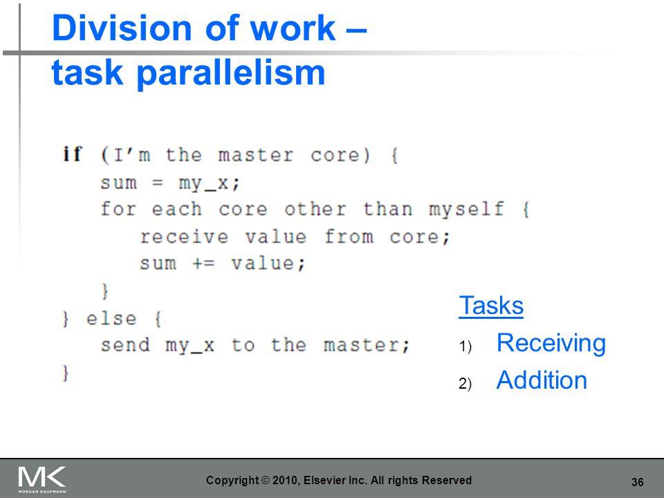 36 Division of work – task parallelism Copyright © 2010, Elsevier Inc. All rights Reserved Tasks 1) Receiving 2) Addition