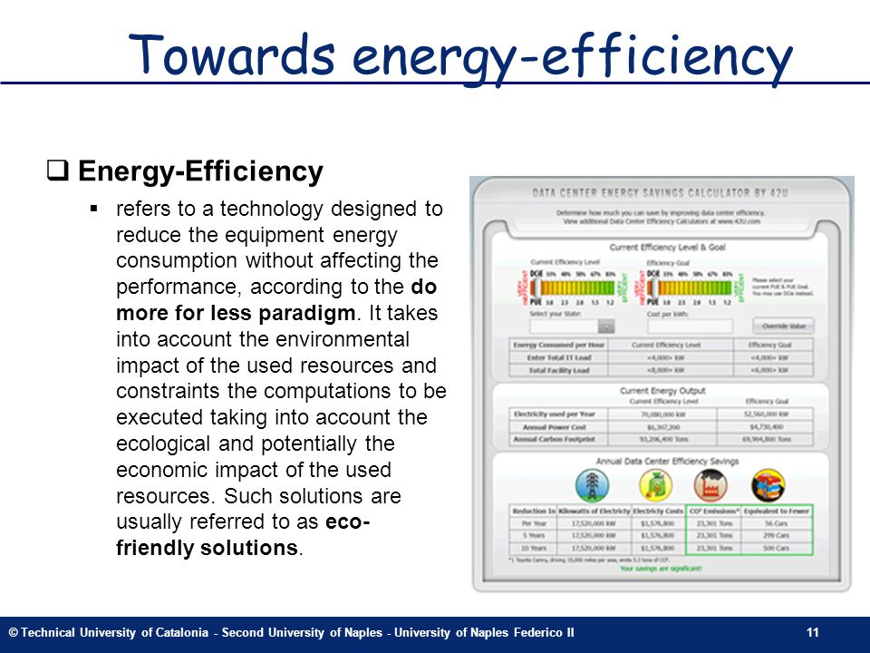 © Technical University of Catalonia - Second University of Naples - University of Naples Federico II11 Towards energy-efficiency Energy-Efficiency ref