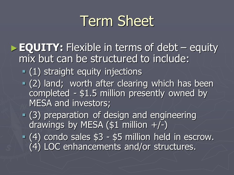 Term Sheet EQUITY: Flexible in terms of debt – equity mix but can be structured to include: EQUITY: Flexible in terms of debt – equity mix but can be