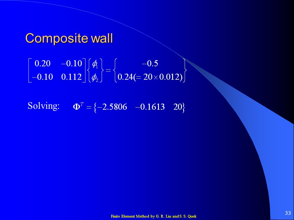 Finite Element Method by G. R. Liu and S. S. Quek 33 Composite wall Solving: