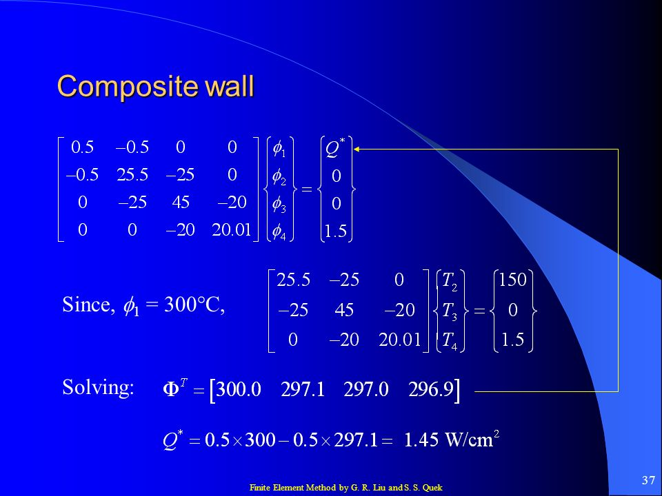 Finite Element Method by G. R. Liu and S. S. Quek 37 Composite wall Since, 1 = 300°C, Solving: