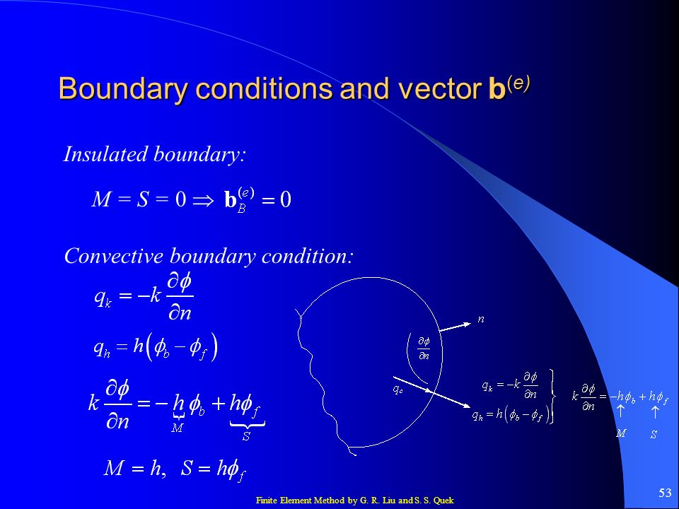 Finite Element Method by G. R. Liu and S. S. Quek 53 Boundary conditions and vector b (e) Insulated boundary: M = S = 0 Convective boundary condition: