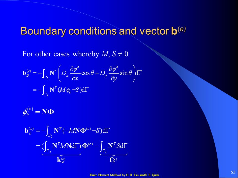 Finite Element Method by G. R. Liu and S. S. Quek 55 Boundary conditions and vector b (e) For other cases whereby M, S 0