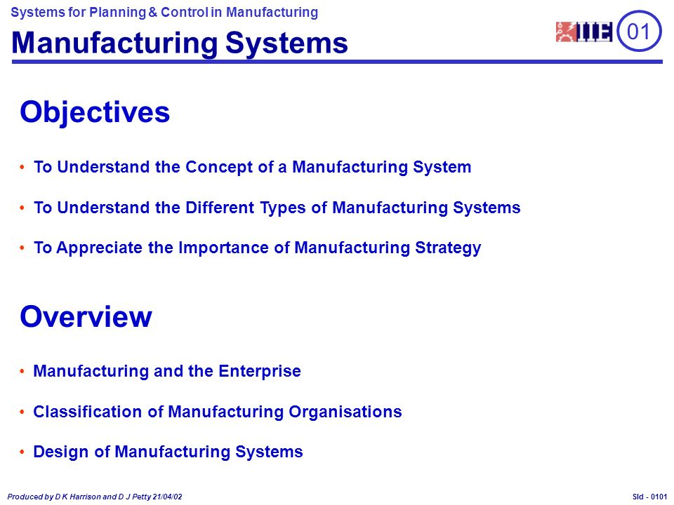 Systems for Planning & Control in Manufacturing Produced by D K Harrison and D J Petty 21/04/02 Sld - 01 Manufacturing Systems Objectives To Understan