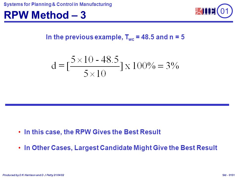 Systems for Planning & Control in Manufacturing Produced by D K Harrison and D J Petty 21/04/02 Sld - RPW Method – 3 In the previous example, T wc = 48.5 and n = 5 In this case, the RPW Gives the Best Result In Other Cases, Largest Candidate Might Give the Best Result 01 0151