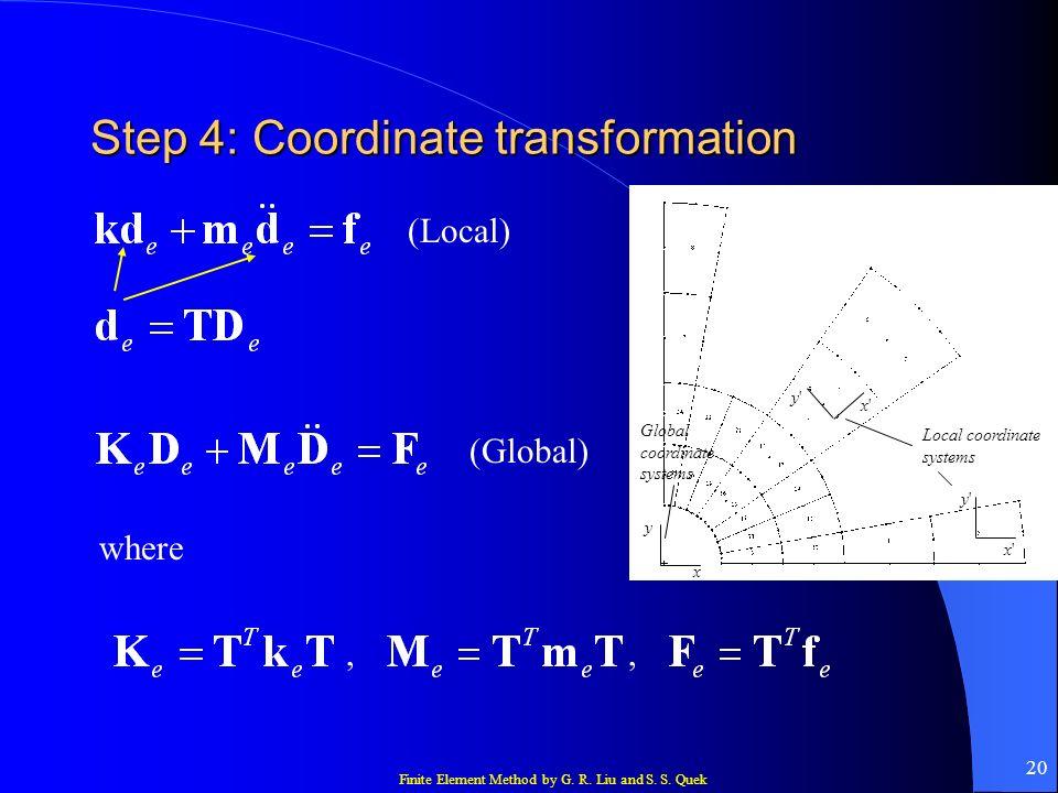Finite Element Method by G. R. Liu and S. S. Quek 20 Step 4: Coordinate transformation x y x'x' y'y' y'y' x'x' Local coordinate systems Global coordin