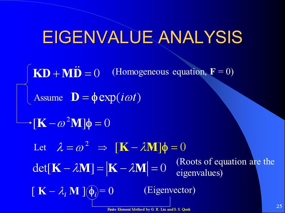 Finite Element Method by G. R. Liu and S. S. Quek 25 EIGENVALUE ANALYSIS (Homogeneous equation, F = 0) Assume Let [ K i M ] i = 0 (Eigenvector) (Roots