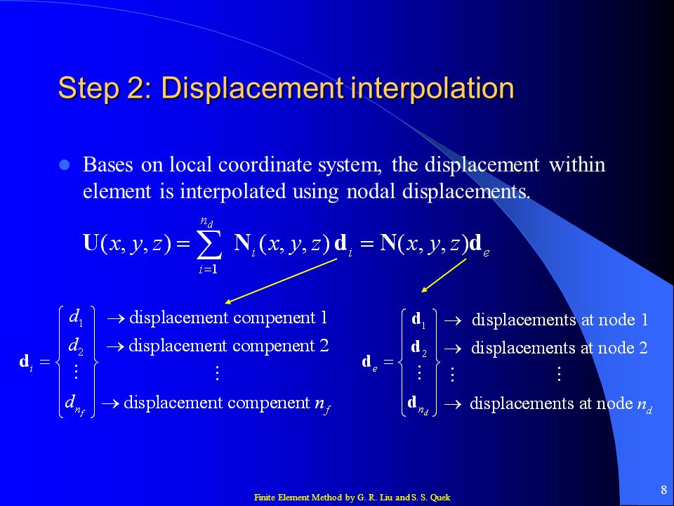 Finite Element Method by G. R. Liu and S. S. Quek 8 Step 2: Displacement interpolation Bases on local coordinate system, the displacement within eleme