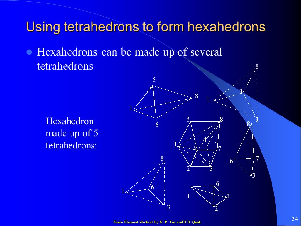 Finite Element Method by G. R. Liu and S. S. Quek 34 Using tetrahedrons to form hexahedrons Hexahedrons can be made up of several tetrahedrons Hexahed