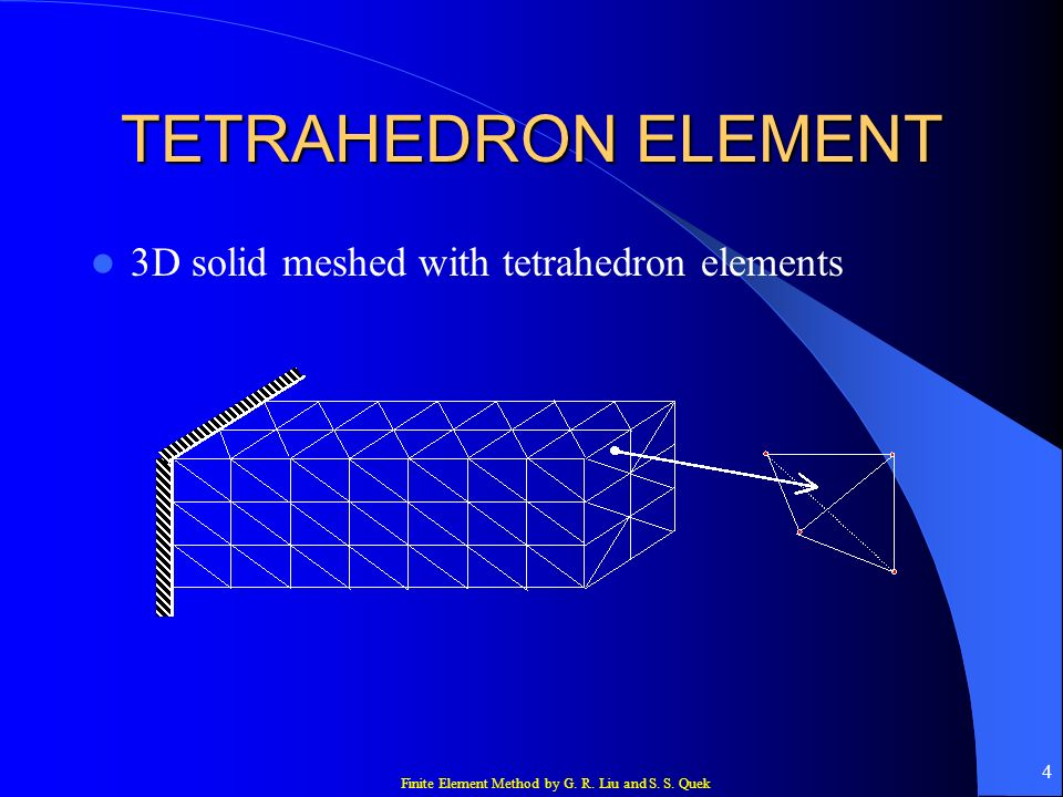 Finite Element Method by G. R. Liu and S. S. Quek 4 TETRAHEDRON ELEMENT 3D solid meshed with tetrahedron elements