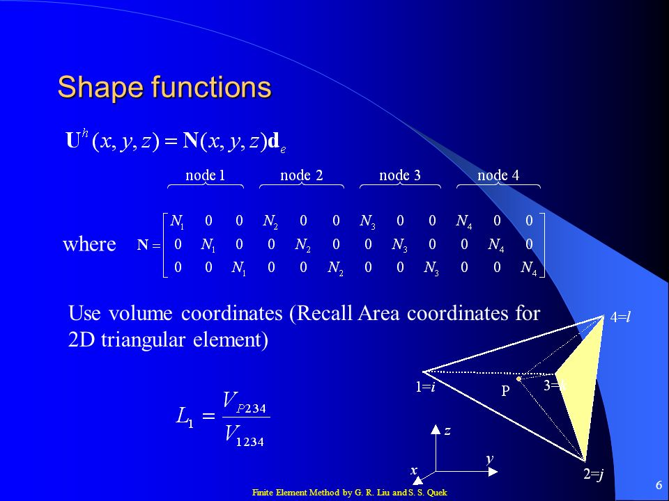 Finite Element Method by G. R. Liu and S. S. Quek 27 Element matrices Gauss integration: