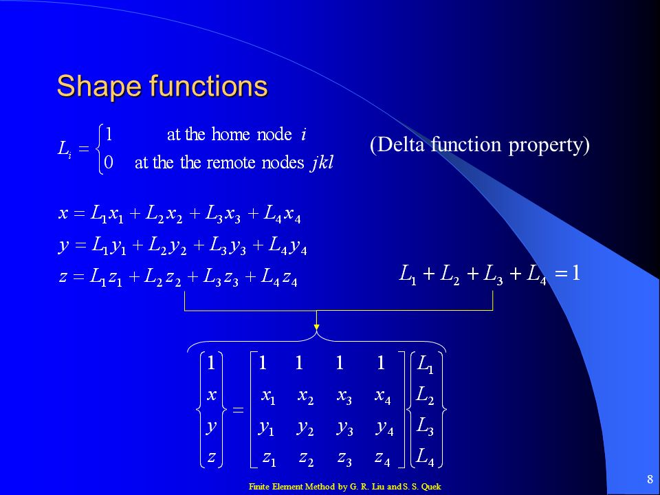 Finite Element Method by G. R. Liu and S. S. Quek 8 Shape functions (Delta function property)