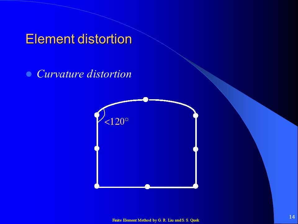 Finite Element Method by G. R. Liu and S. S. Quek 14 Element distortion Curvature distortion