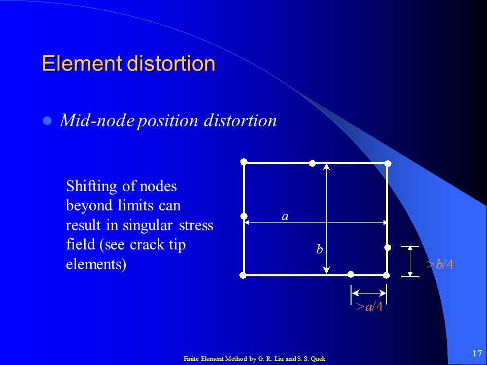 Finite Element Method by G. R. Liu and S. S. Quek 17 Element distortion Mid-node position distortion Shifting of nodes beyond limits can result in sin
