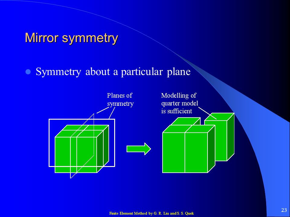 Finite Element Method by G. R. Liu and S. S. Quek 23 Mirror symmetry Symmetry about a particular plane